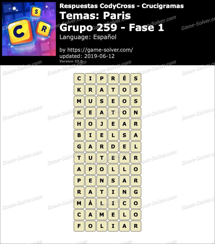 Respuestas CodyCross Paris Grupo 259-Fase 1