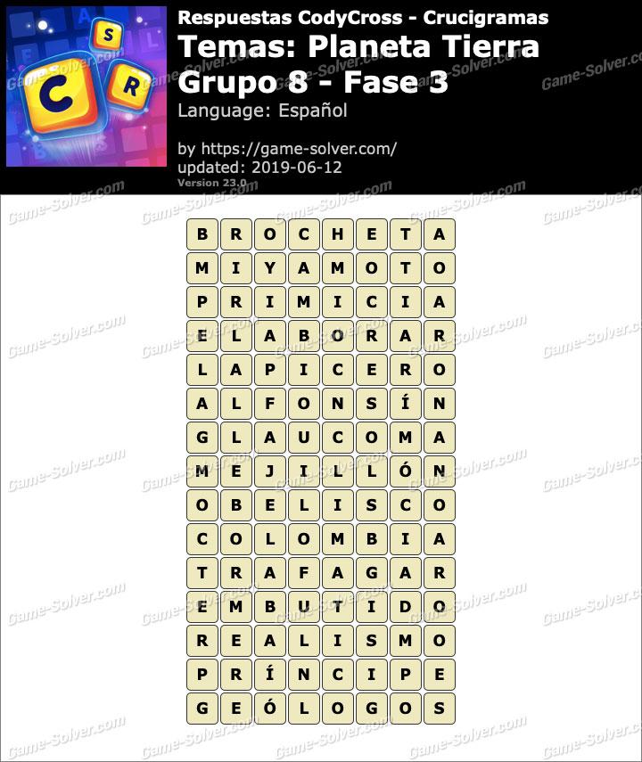 Respuestas CodyCross Planeta Tierra Grupo 8-Fase 3
