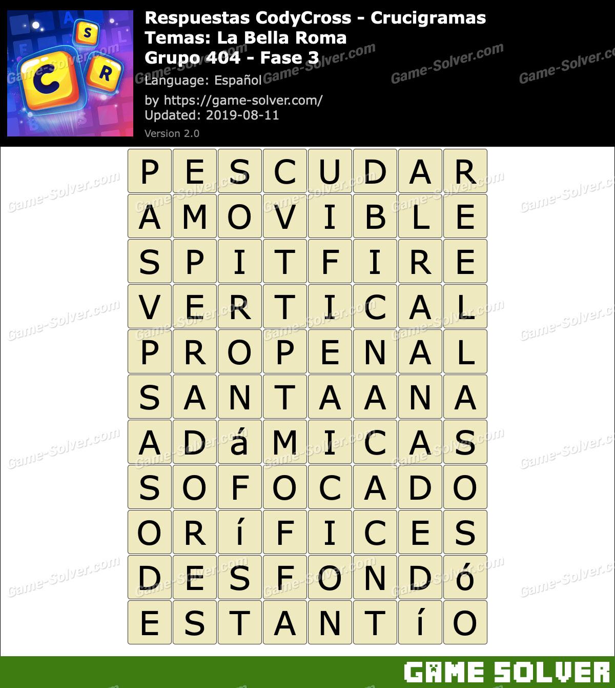 Respuestas CodyCross La Bella Roma Grupo 404-Fase 3