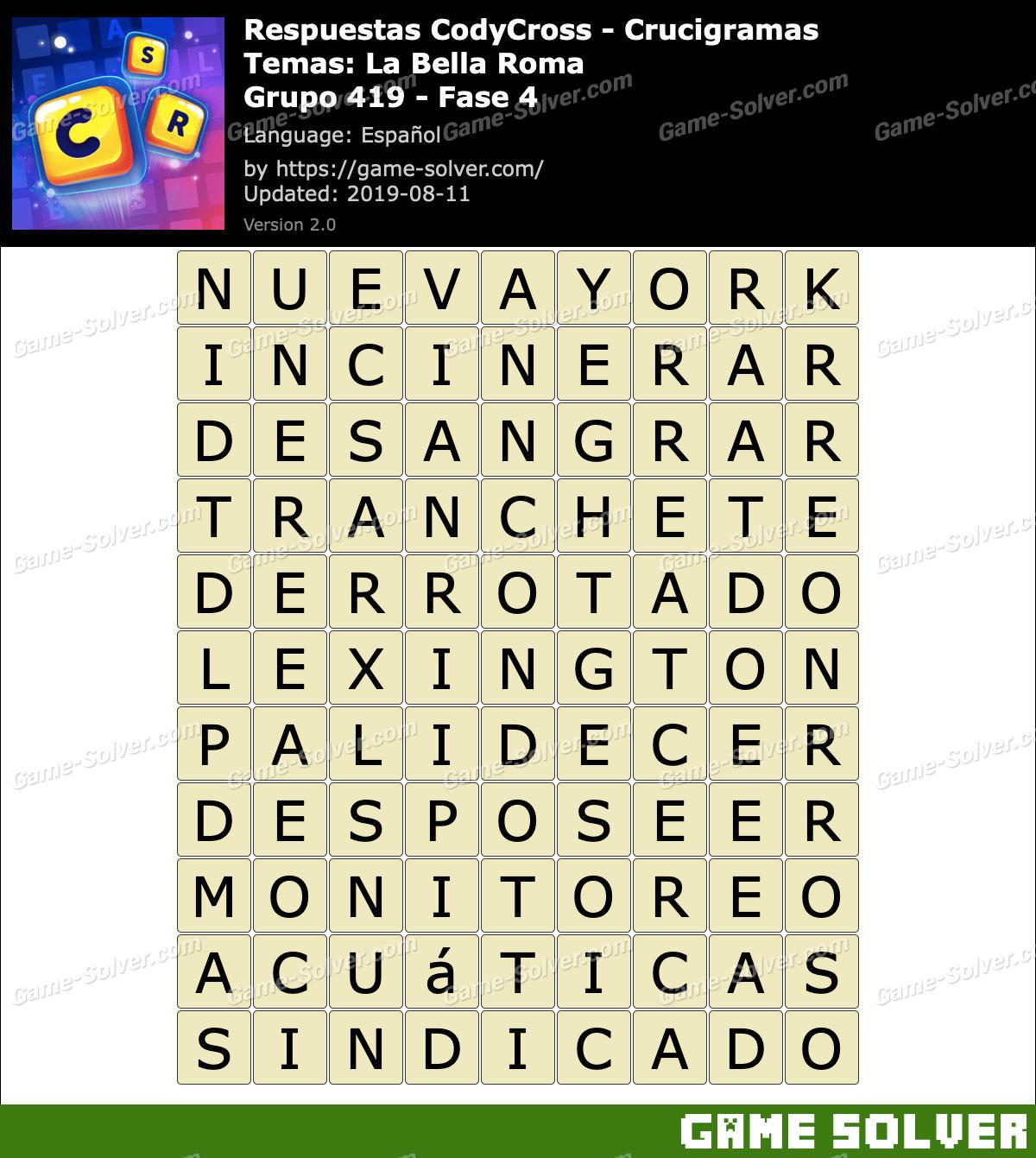 Respuestas CodyCross La Bella Roma Grupo 419-Fase 4