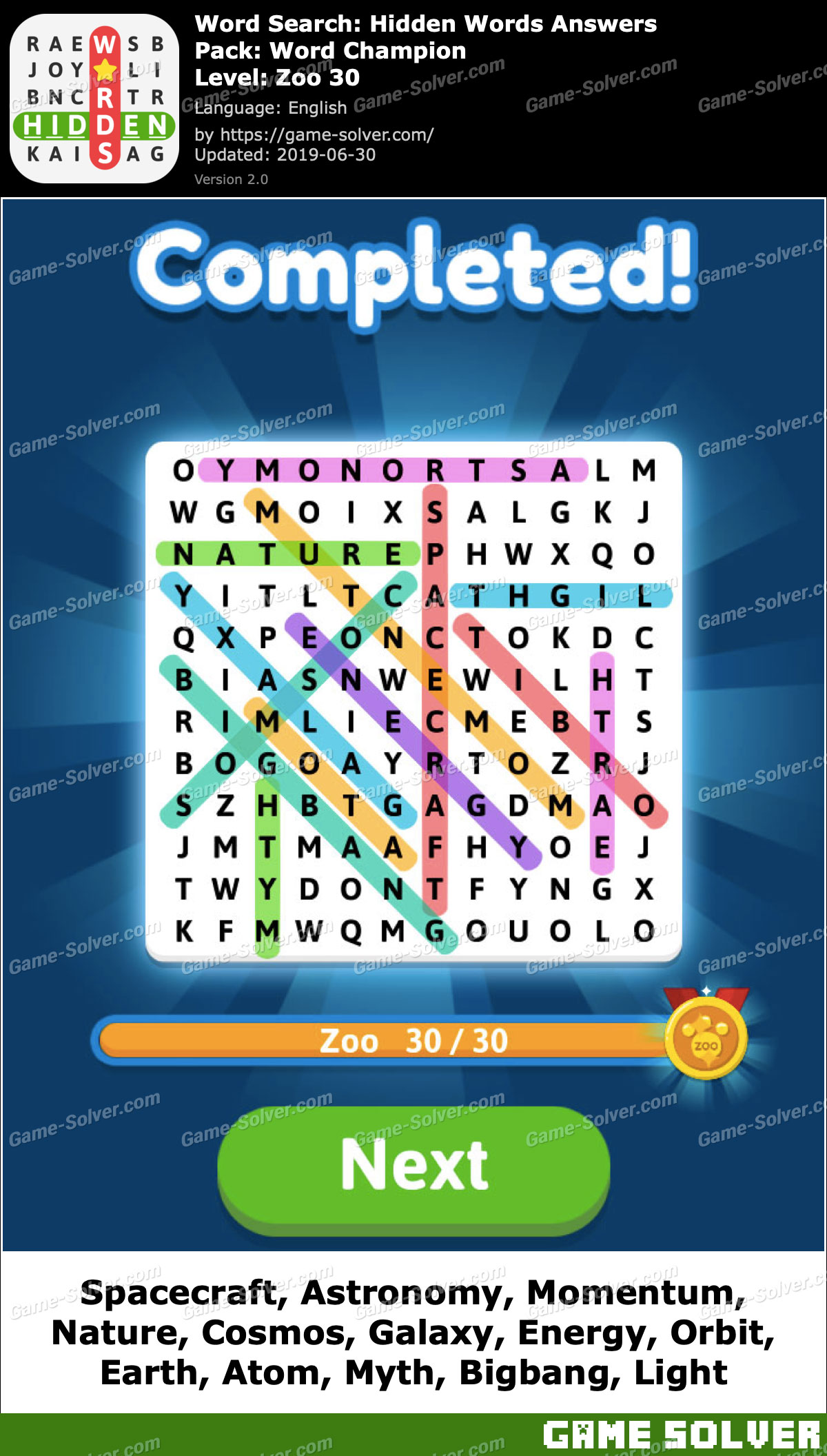 Word Search Hidden Words Word Champion-Zoo 30 Answers