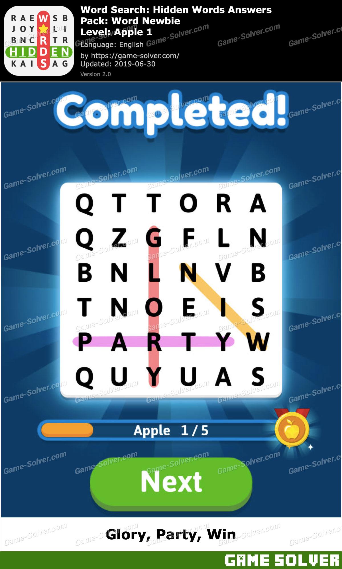 Word Search Hidden Words Word Newbie-Apple 1 Answers