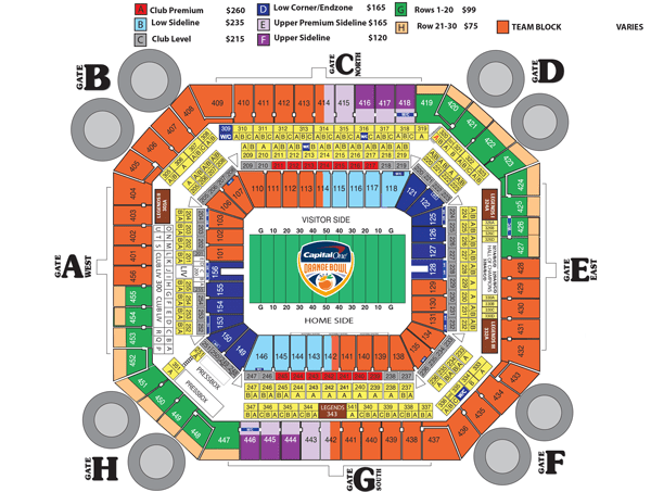 2012 Gator Bowl Seating Chart