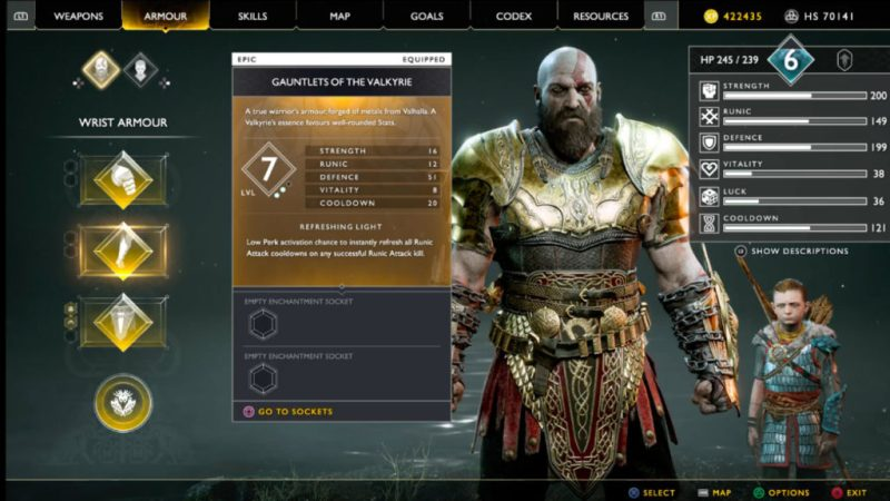 God of war armor 2018 armure best meilleure fort ps4 playstation