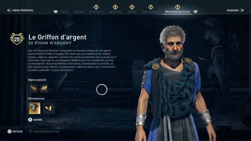 Assassin's Creed Odyssey trouver et tuer les adeptes du culte du Kosmos, ps4, xbox one, pc, ubisoft, jeu vidéo, Le filon d'argent, le griffon d'argent