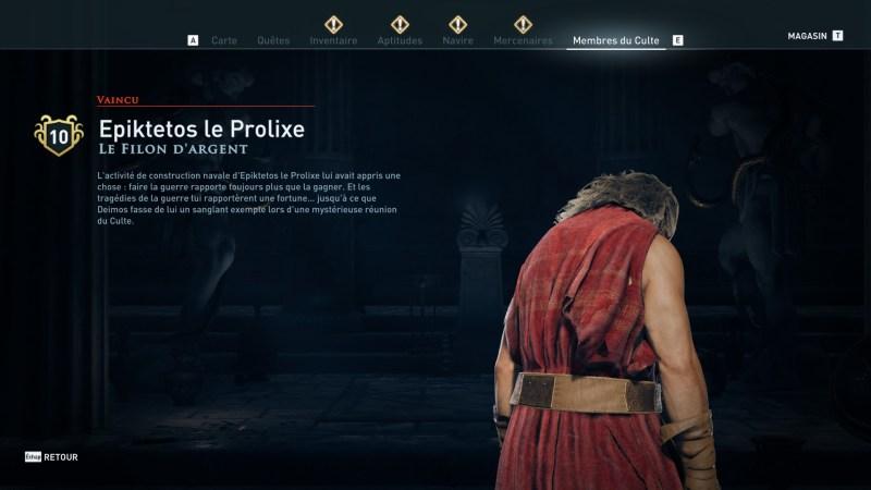 Assassin's Creed Odyssey trouver et tuer les adeptes du culte du Kosmos, ps4, xbox one, pc, ubisoft, jeu vidéo, Le filon d'argent, Epiktetos le Prolixe