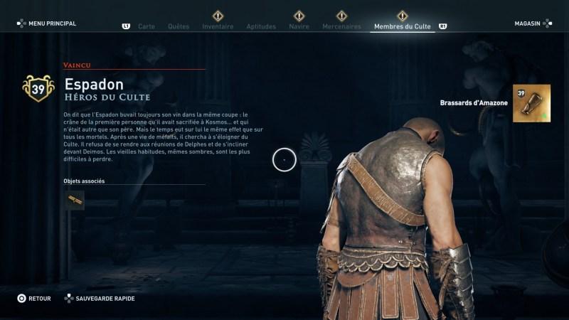 Assassin's Creed Odyssey trouver et tuer les adeptes du culte du Kosmos, ps4, xbox one, pc, ubisoft, jeu vidéo, chrysis, adorateur de la lignée