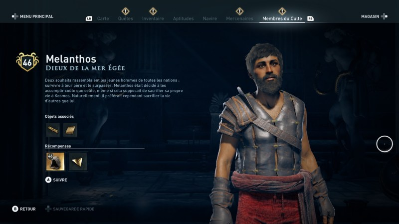 Assassin's Creed Odyssey trouver et tuer les adeptes du culte du Kosmos, ps4, xbox one, pc, ubisoft, jeu vidéo, melanthos, dieux de la mer égée