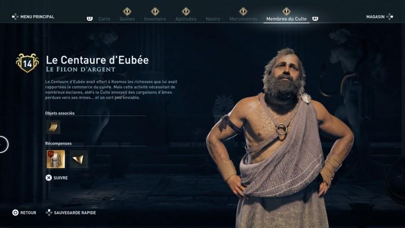 Assassin's Creed Odyssey trouver et tuer les adeptes du culte du Kosmos, ps4, xbox one, pc, ubisoft, jeu vidéo, Le filon d'argent, le centaure d'eubée