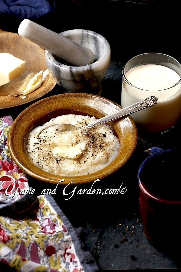 Cheesy grits are a Southern staple. There is really no better comfort food. Grits and polenta are both made from stone ground grits, but are made from different types of corn.