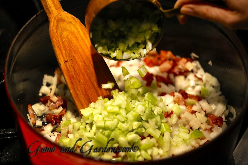 Sautè onions, celery, and garlic before adding the peas and stock.