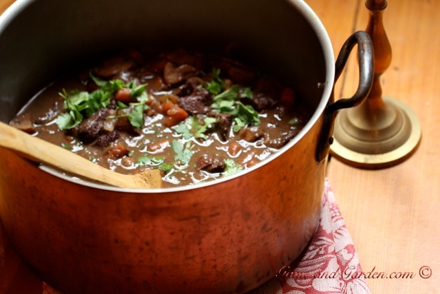 Delicimoso! I looooove Venison Bourguignon! It is our family tradition to have it every Christmas Eve.