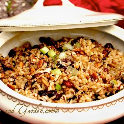 Wild Rice with Pecans, Cranberries, and Scallions