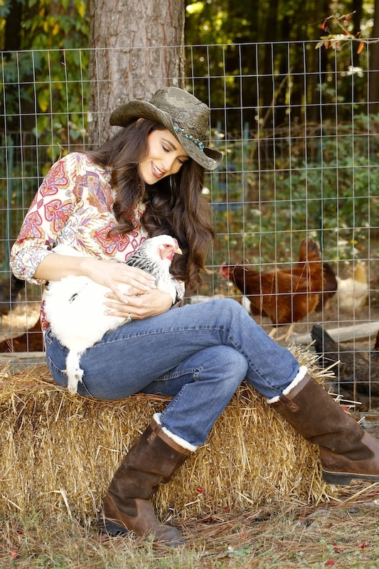 Stacy Harris with Chickens.