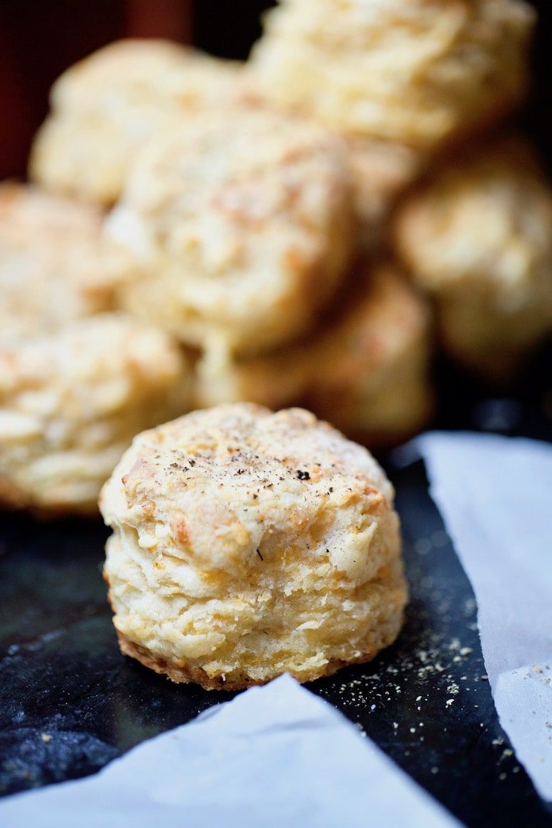 Savory Cheesy Biscuit with Sea Salt and Freshly Cracked Pepper