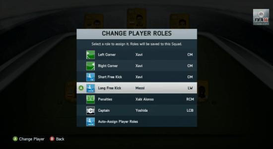 FIFA 14 Ultimate Team cambio numeri di maglia, scelta battitori corner, rigori e punizioni