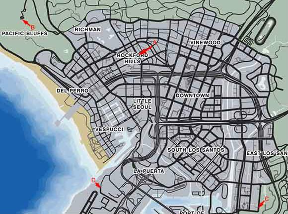 Mapa De Gta 5 Con Nombres De Calles Un Mapa Del Juego Grand Theft Auto V Con Secretos Y Una Base Militar Mapa De Paquetes Ocultos
