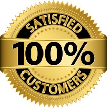 100% customer satisfaction emblem.