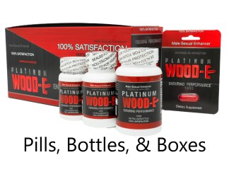 Platinum Wood-E male enhancement supplement box, bottles and pill cards.