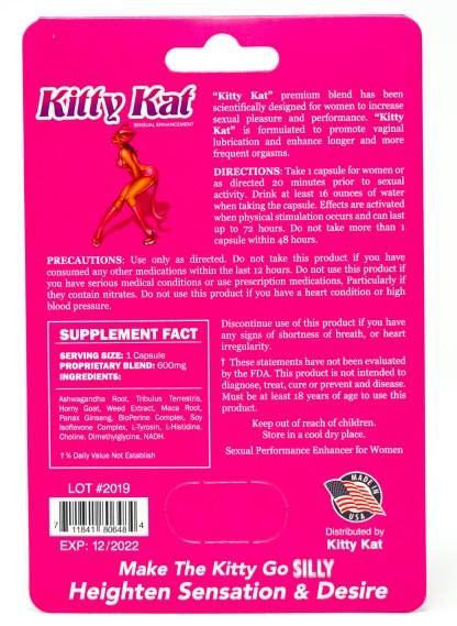 Kitty Kat Sexual Enhancement Blister Pack Back