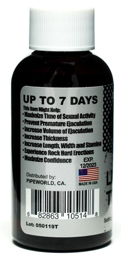 Liquid Titanium Male Sexual Enhancement Bottle Benefits Label.