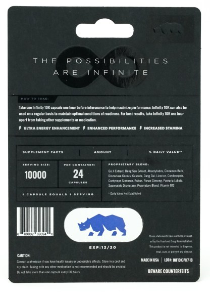Rhino Infinity 10K Male Sexual Enhancement Blister Pack Back
