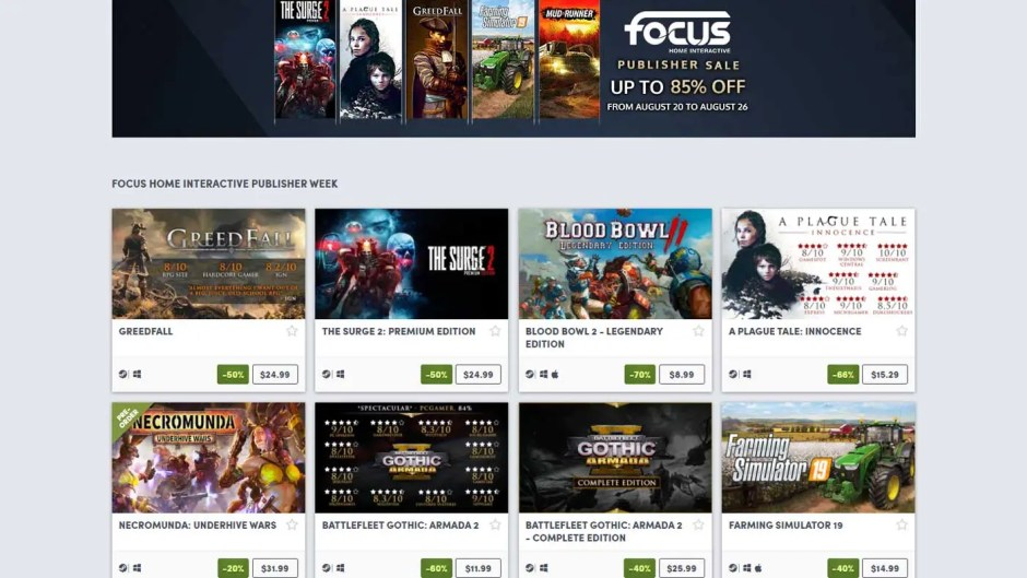Focus Home Interactive Publisher Sale Humble Store