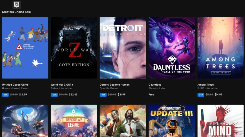 Epic Games Store Creators Choice Sale 2020