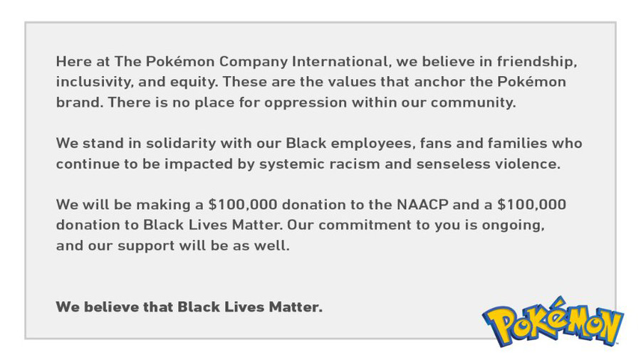 The Pokemon Company Black Lives Matter statement