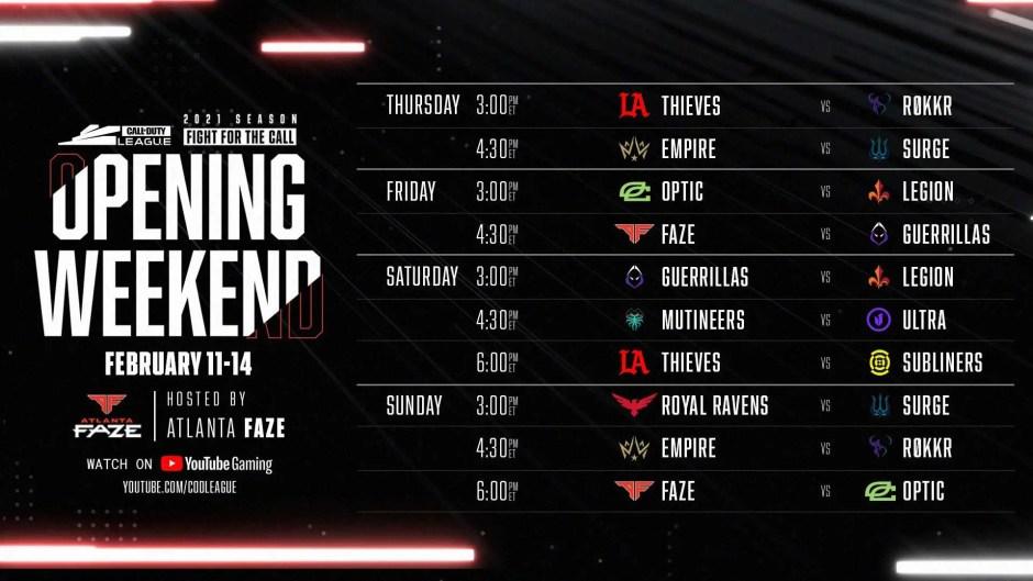 Call of Duty League 2021: Atlanta FaZe Home Series opening weekend schedule