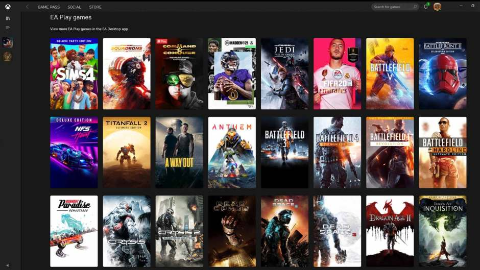EA Play on Xbox Game Pass for PC