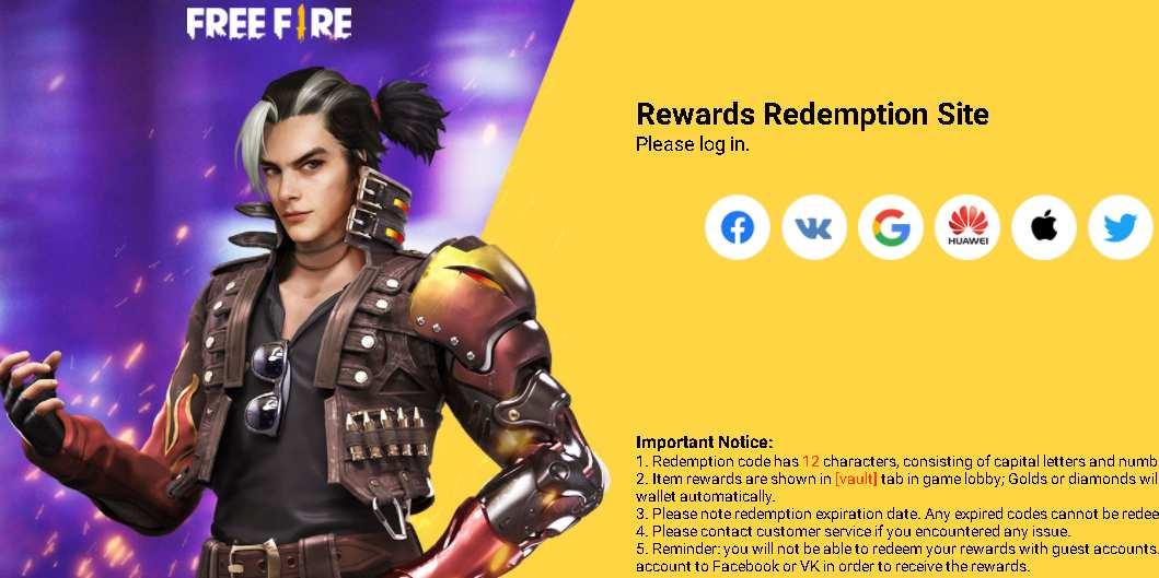 Rewards Site free Fire Redeem Code