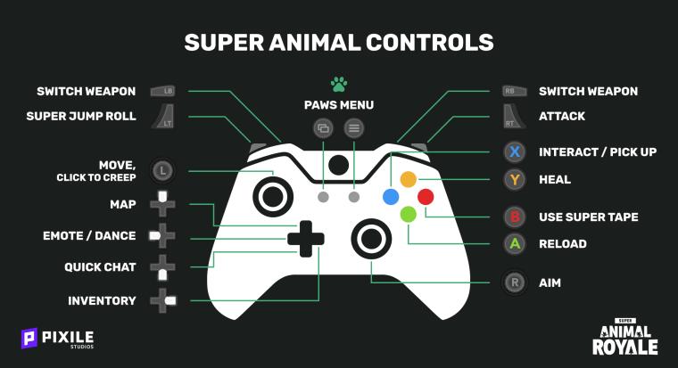 super animal royale Xbox Controls