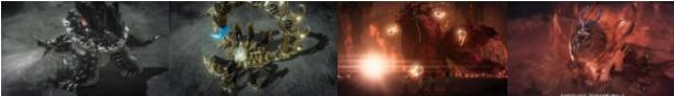 左から「クロマニウム」  「ナクラセナ」「紅炎の妖狐」「タイタロス」