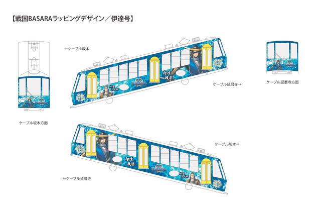 「戦国BASARA」ラッピング列車を坂本ケーブルで2021年4月3日(土)より運行! 「戦国BASARA」特製乗車券も同時発売!