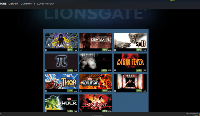 Steam + Lionsgate