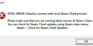 fatal error failed to connect with local steam client process