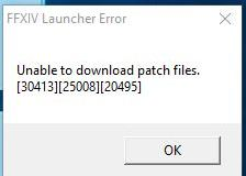 ffxiv unable to download patch files