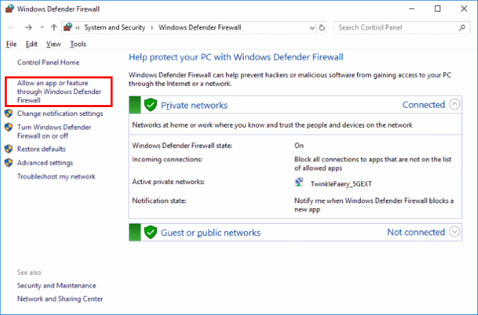 Allow an app or feature through the Windows Defender Firewall