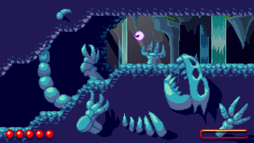 Skeleton in a cave