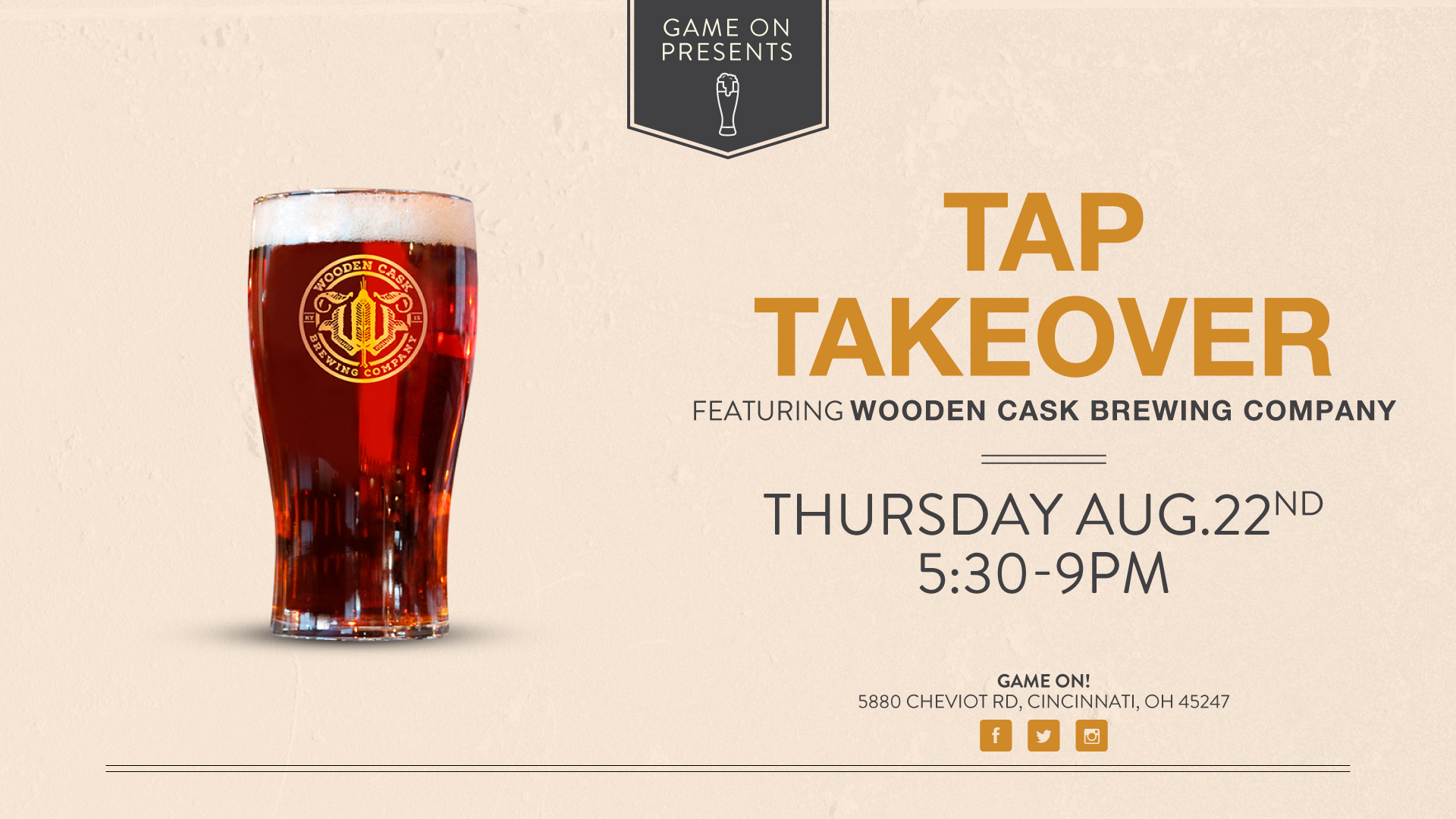Tape Takeover Wooden Cask Brewing Company Game On