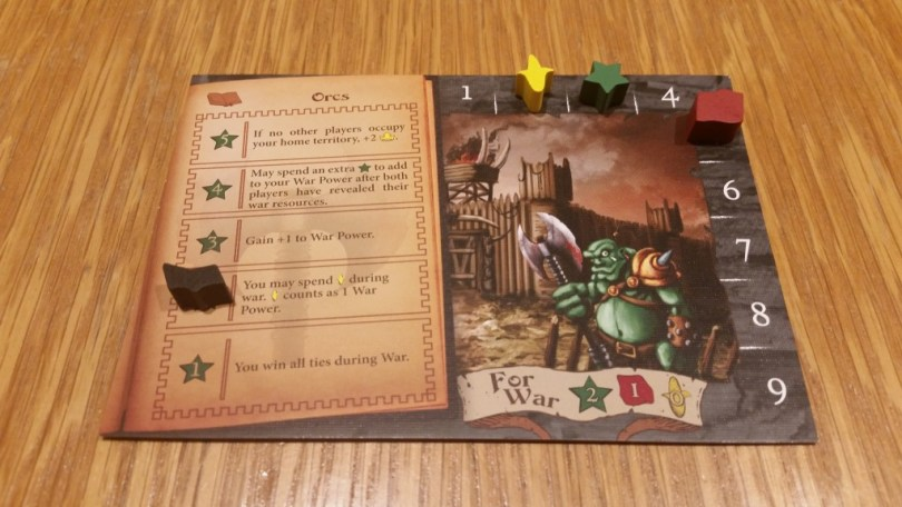 A player board, mid-game. Resource trackers move around the edge, and the book token denotes magic research.