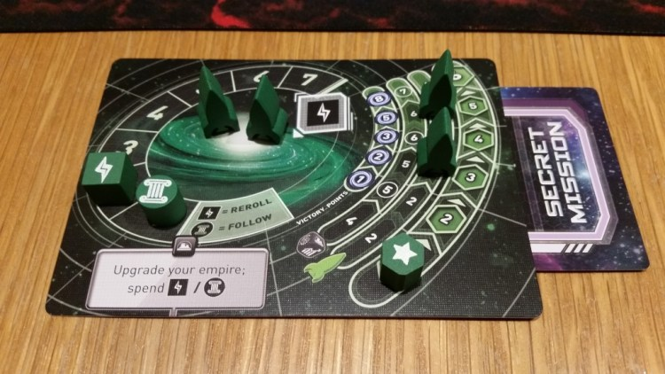 Green's player board at the start of the game. It's really nicely organized and makes tracking things a breeze