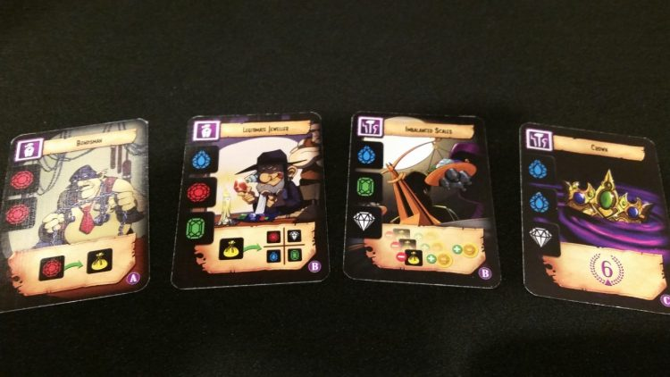 A closer look at some cards. The iconography is generally pretty clear, and player cheat sheets will make it even more accessible.