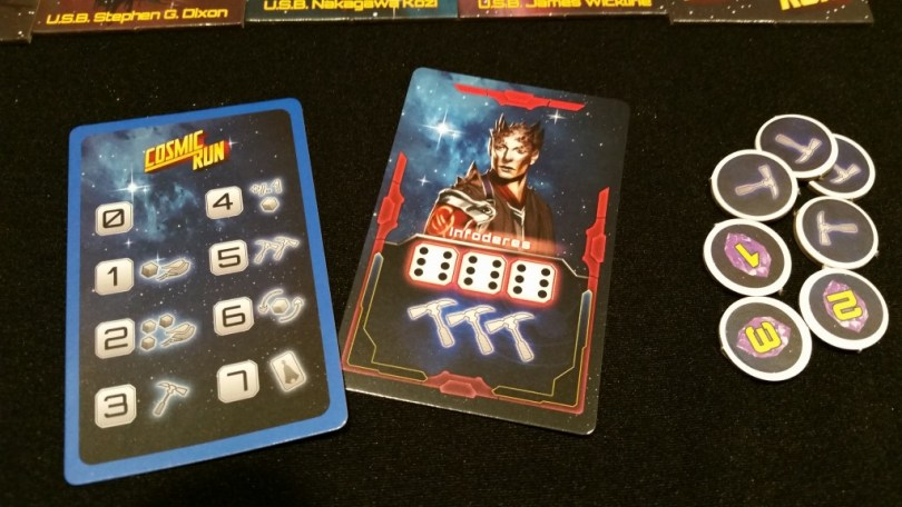 Each player's technology card will fill with left-over dice, giving them access to some really potent effects. This alien doesn't manipulate the dice, but allows you to draw random VP tokens which can easily swing a tight game.
