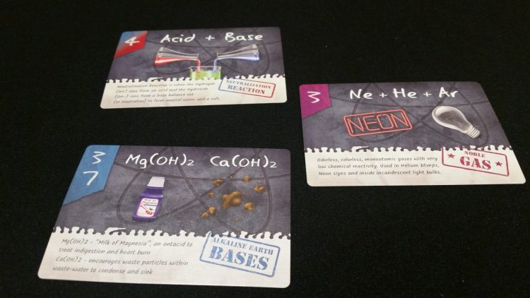 A few of the goal cards. Each one calls for specific criteria for that round's bonus points to be scored.