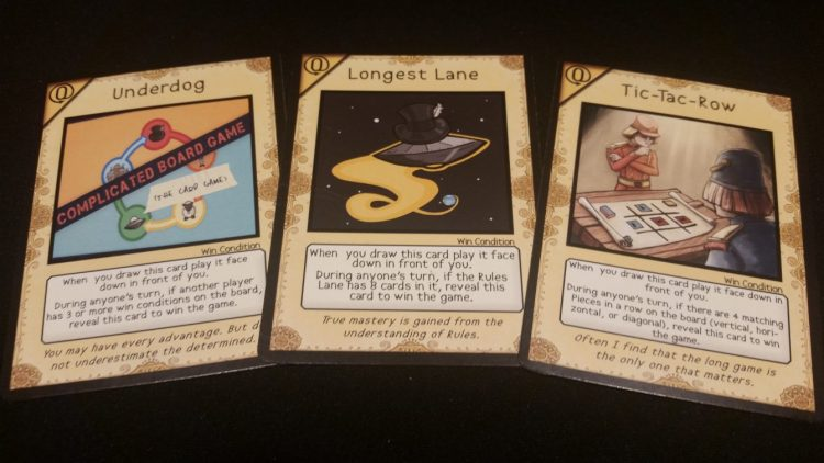 Goal cards, each of which gives the player holding it a new victory condition.
