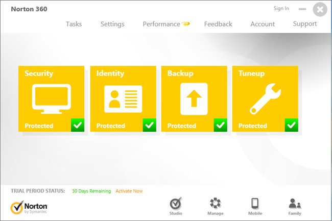 Screenshot N360 Norton