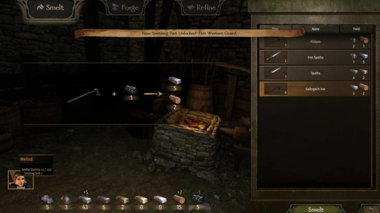 Mount & Blade Ii Bannerlord Mount And Blade Ii Bannerlord Smithing Skill Smithy Crafting Smelt Stamina Recipe