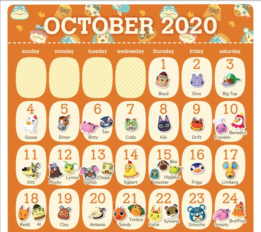 Screenshot of October Animal Crossing Birthday Calendar from MyNintendo Rewards with Redd's birthday listed on the 18th